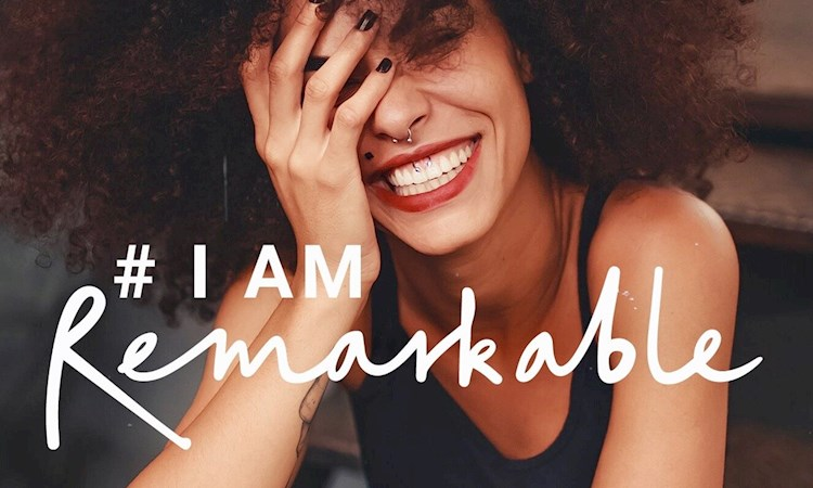 Picture of woman with text #I Am Remarkable